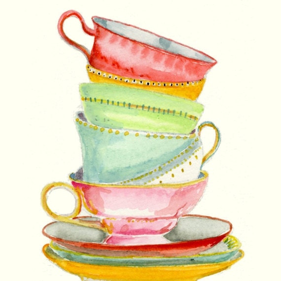 Still Life Kitchen Decor Art Print of Original Watercolor Painting -- Teacups 2