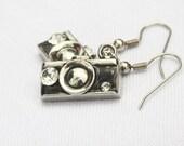Black and Silver Rhinestone Camera Earrings