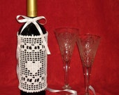 Valentine Day, Dress for a bottle of wine, Gift, Handmade crochet