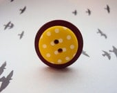 Button Ring - Fun unusual adjustable silver ring with red and yellow spotty recycled buttons - perfect stocking gift