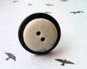 Button Ring - Fun unusual adjustable silver ring with black and white recycled buttons - perfect stocking gift