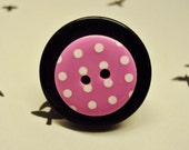 Button Ring - Fun unusual adjustable silver ring with black and pink spotty buttons - perfect stocking gift