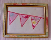 Floral Bunting Wall Art - Cath Kidston Pink Fabric - Cream Cotton Canvas - Gold & Floral Vintage Frame