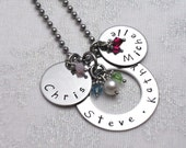 Personalized Jewelry- Hand Stamped Charm Necklace- Family Charms With Names and Birthstones