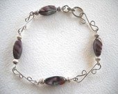 S-Link Bracelet and Matching Earrings With Amethyst Glass Beads
