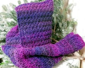 Stunningly beautiful crocheted hooded scarf in purples