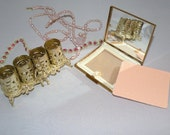 Romantic Cherub Lipstick Caddy, 1950s Compact with Puff and Gift for the Bride