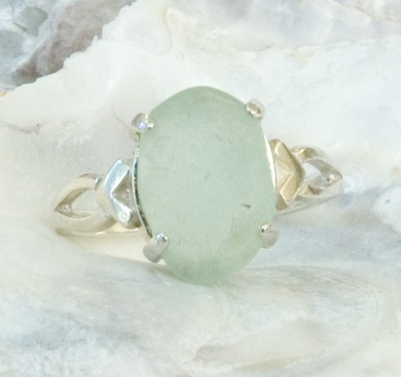 Seaglass & Sterling Silver Ring Size 8 Seafoam Light Green