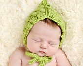 Lace Look Crochet Newborn Pixie  Hat Bonnet - Made to Order