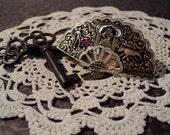 Romantic Matador Filigree Fan Vintage Brooch or Pin