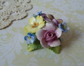 Beautiful Vintage English Floral Brooch