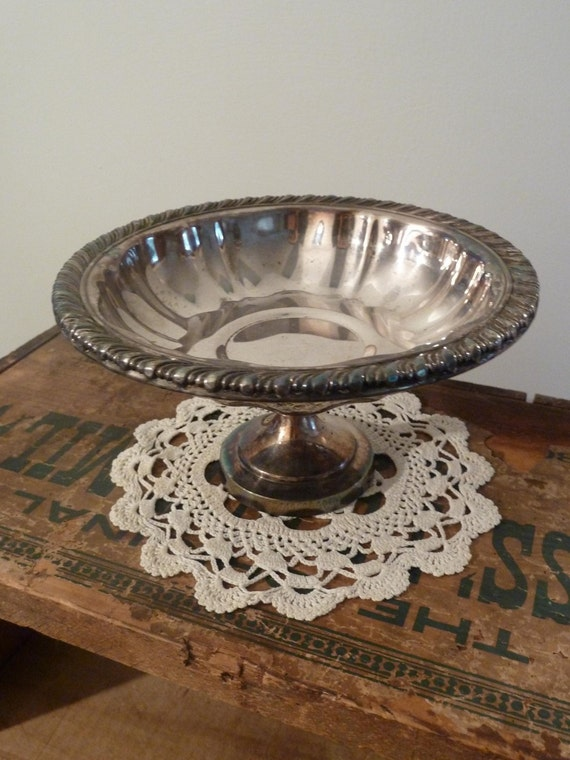 SALE Shabby Chic Silver Footed Compote Bowl