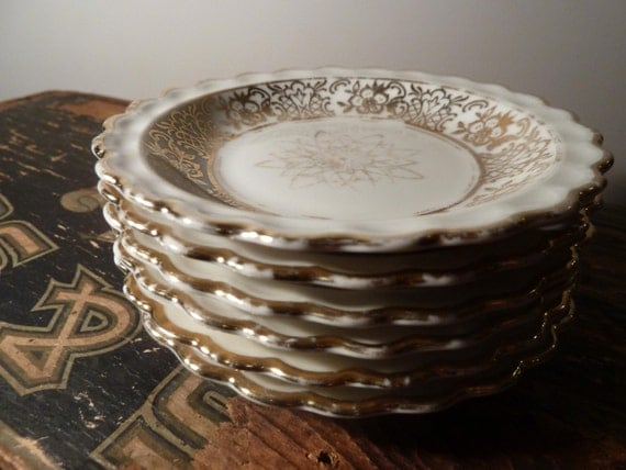 Set of 6 Petite Gold Scalloped Bavarian Winterling Saucers - Candle Holders