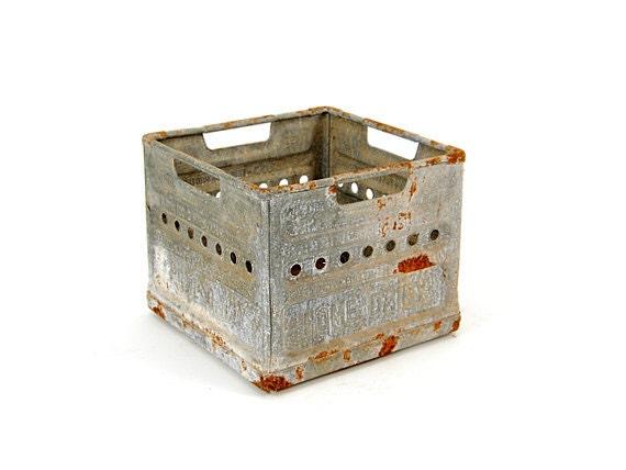 vintage milk crate - metal crate - industrial metal crate - industrial storage