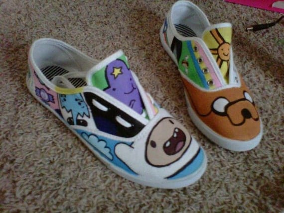 Made to order Adventure Time Shoes. Mens and women's sizes available.