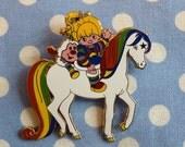 Retro Large Rainbow Brite 80s Cartoon Brooch