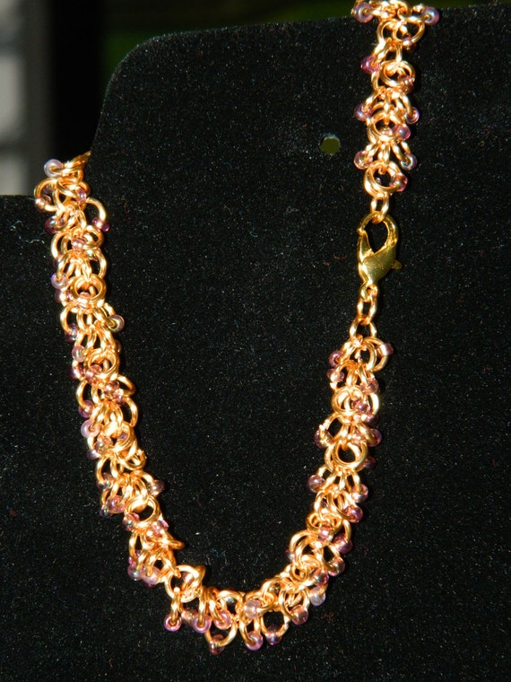 Gold Beaded Shaggy Loops chainmaille bracelet/anklet
