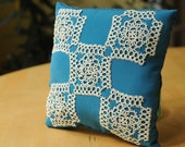 SALE -Throw Pillow with Tatted Lace Applique, Teal and Off White