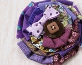 Fabric Pin, Purple Textile Flower,  Grape Soda, Upcycled Pin, Vintage Fabric And Buttons