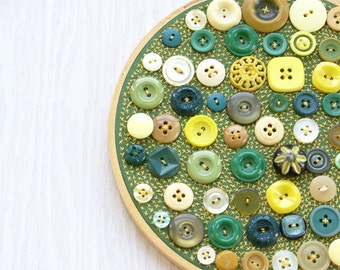 Upcycled Embroidery Hoop Art, Textile And Vintage Button Art, Button Mosaic, Relish Tray, Green And Yellow