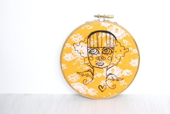 Embroidery Hoop Art, Halloween Textile Hoop Art, Pig Nose Portrait, Little Angel Girl Portrait, Orange, Lace And Black