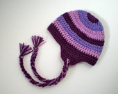 PATTERN:  Striped Earflap Hat- Easy Crochet, Sizes Newborn to Adult, pompom, tassels, beanie, modern, InStAnT DoWnLoad, Permission to Sell