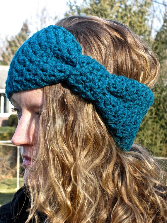 Ear warmer, hair band, head band, crochet, teal, turquoise, giant bow ...