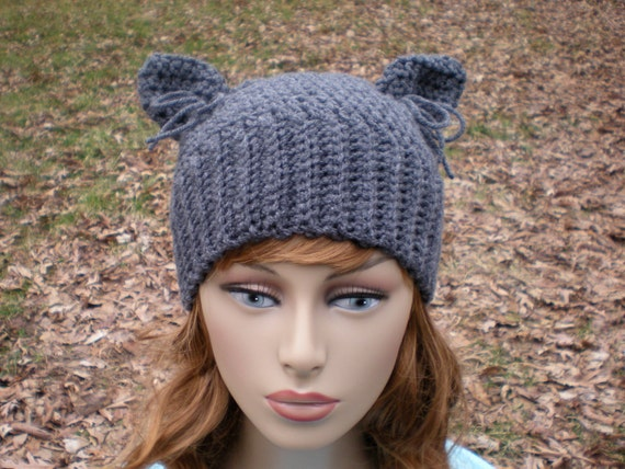 Crochet Pattern For A Hat For A Cat : The Hathaway... crochet cat ears hat adult teen by swellamy