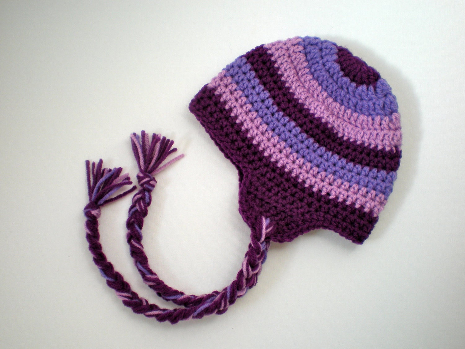 Crochet Beanie Pattern Striped : PATTERN: Striped Earflap Hat Easy Crochet Sizes Newborn to