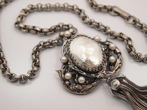 Vintage  Necklace Pendant / Brooch - Victorian Revival - Baroque Blister Pearl
