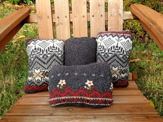 Upcycled ecofriendly handsewn ski sweater pillow set of four pillows in dark grey with ski sweater/embroidered accents