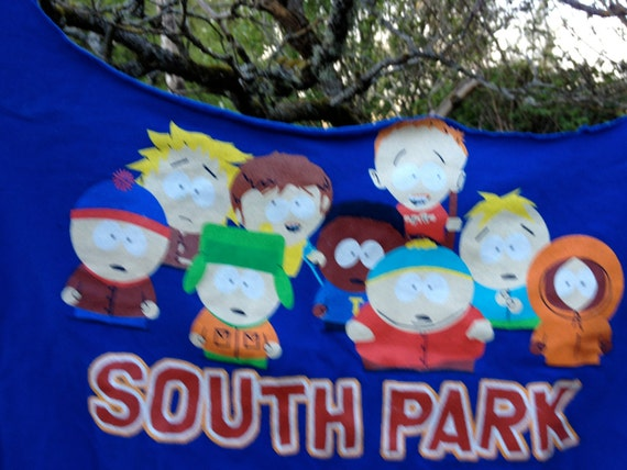"Upcycled ""South Park"" tshirt totebag in bright blue featuring the kids from South Park"