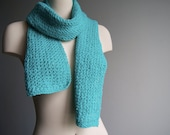 Soft Turquoise Cashmere Knit Scarf