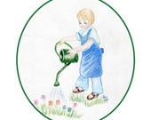 Christian Birthday card with a little girl watering flowers.