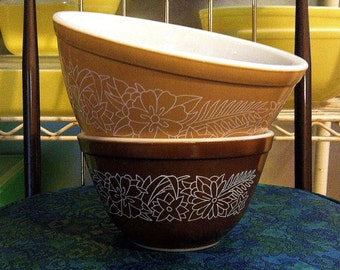 Two Pyrex Mixing Bowls 'Woodland' Pattern