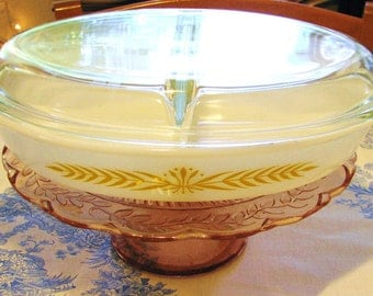 Pyrex Divided Casserole/Serving Dish with Cover  'Royal Wheat' Pattern