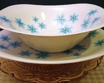Ben Seibel Impromptu 'Blue Petals' Iroquois Vegetable/Serving Bowl and Platter