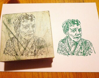 Woman-in-Curlers Rubber Stamp