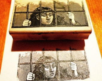 Woman Behind Bars Rubber Stamp