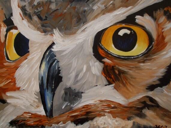 18x24 Owl Eyes Close Up Acrylic Fine Art Painting