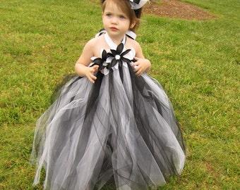 Black & White Couture  Flower Girl Tutu Dress, Pageant dress, Party dress, sizes 12-18m, 18-24m,  2t,  3t, 4t, 5t, 6