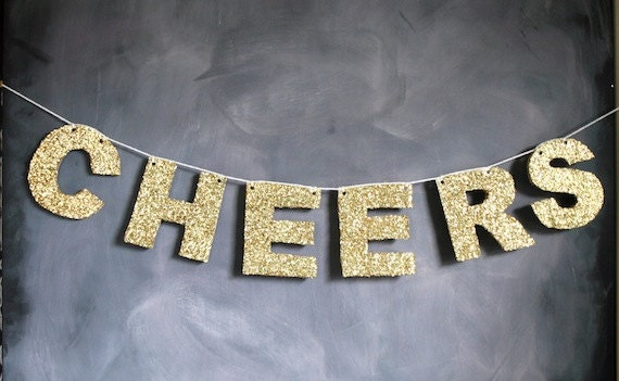 Cheers Holiday Gold Glitter Banner