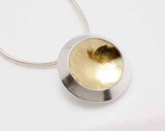 Textured 18 Karat Gold/ Sterling Silver Sunny Day Window Necklace