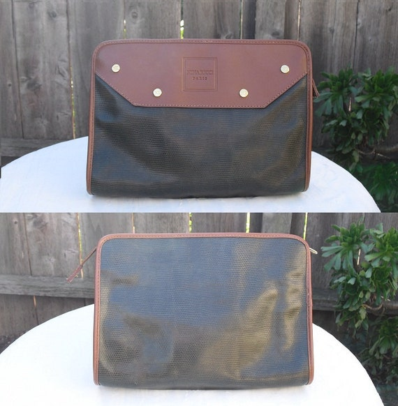 Vintage 1980s Nina Ricci Clutch Make Up Pouch Dark Green Brown with Gold Studs