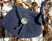 FREE SHIPPING - One of a kind small darkblue purse (knitted and felted)