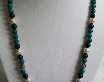 Malachite, black and silver beaded necklace.