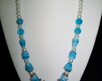 Turquoise, white and silver necklace.