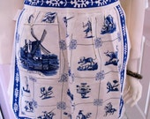 Vintage Blue and White Holland Themed Apron