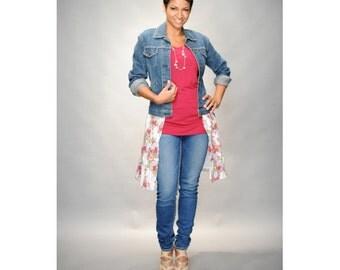 Repurposed women's jean jacket retro vintage with skirt M