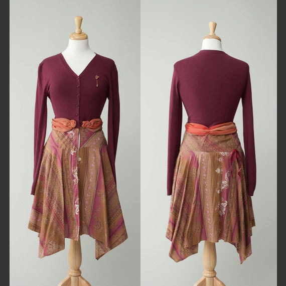 Women's upcycled vintage/retro cranberry sweater/dress Small